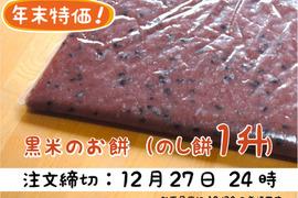 【年末特価!天日干し・無農薬・無肥料】黒米もち のし餅1升