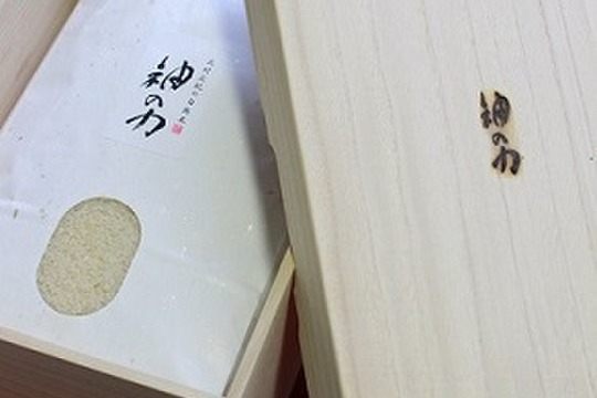 【贈答用】29年度産「神の力」桐箱・風呂敷包み5kg白米(コシヒカリ)
